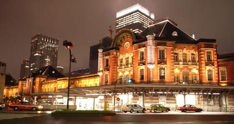 Tokyo's Marunuochi Station at night.