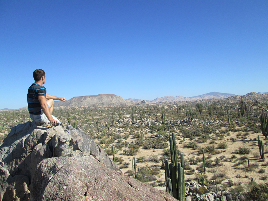 Rock climbing in Catavina desert, Baja California, Mexico.
